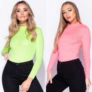 SALE! Neon Long Sleeve High Neck Bodysuit Top